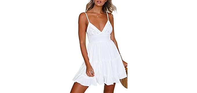 Ecowish Women's V-Neck - Strappy Dress for Beach Wear