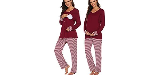 Ekouaer Women's Maternity - Long Sleeve Pajamas for Nursing
