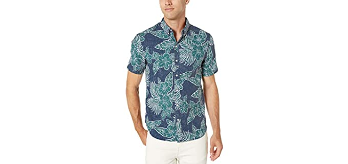 Reyn Spooner Men's Hibiscus Fronds - Hawaiian Shirt for Jeans