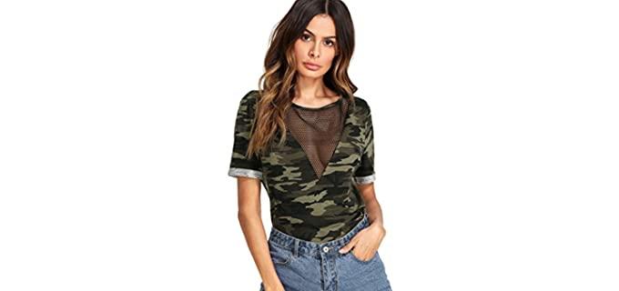 Romwe Women's Casual - Cleavage T-Shirt