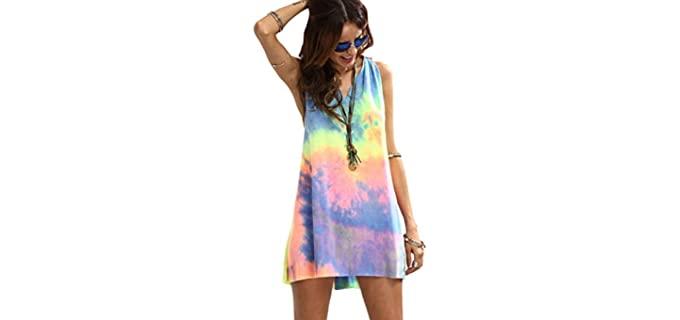 Romwe Women's Sleeveless - Tie Dye Beach Dress