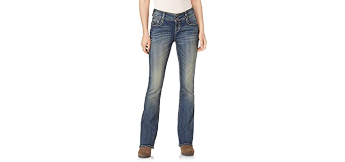 WallFlower Women's Instastretch - Bootleg Jeans for Cowboy Boots