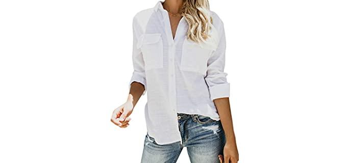 Runcati Women's Button Down - Flat Chest Dress Shirt