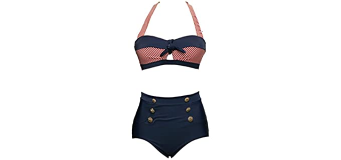 Bslingerie Women's Retro - High Waisted Bikini