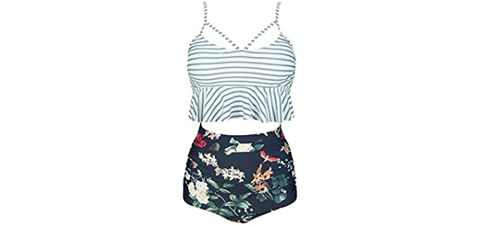 Cocoship Women's Retro Boho - Swimsuit for Curvy Women