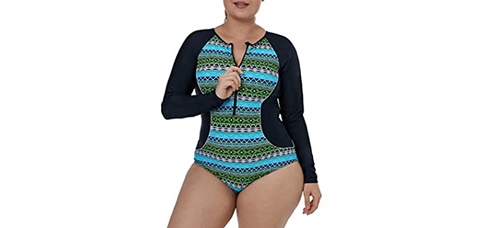 Evaless Women's Printed - One Piece Swimsuit for Surfing