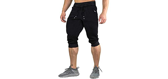 Faskunoie Men's Cotton - Three Quarter Short for Skinny Legs