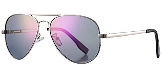 Azorb Women's Polarized - Small Mirrored Aviator Sunglasses