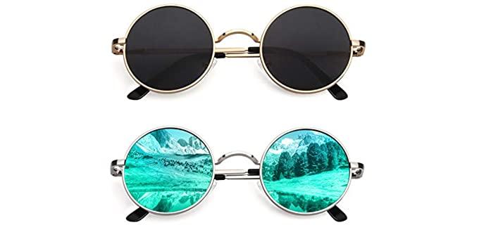 Cgid Women's John Lennon - Polarized Small Round Metal Sunglasses