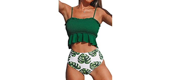 Cupshe Women's High Waist - Bikini for Pear Shapes Over 40