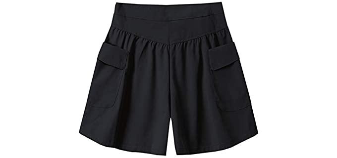 Cromoncent Women's Elastic - High Waist Shorts for a Flat Bum