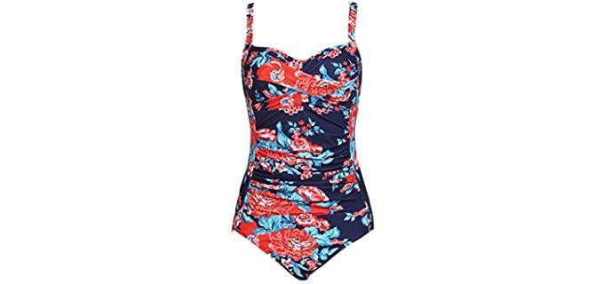 Ekouaer Women's One Piece - Apple Shape Flattering Swimsuit for Over 40