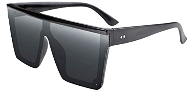 Feisedy Unisex Shield - Large Sunglasses with a Flat Top
