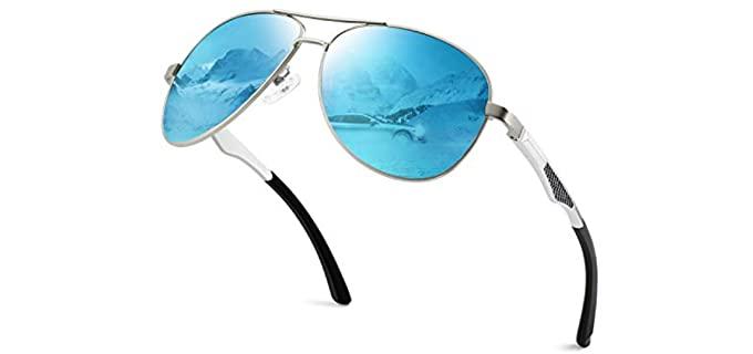 Gqueen Men's Classic - Military Small Mirrored Aviator Sunglasses