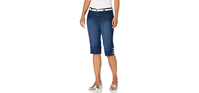 Gloria Vanderbilt Women's Mila - Belted Shorts for Fat Knees