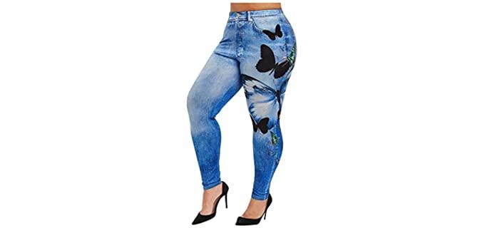 Vowua Women's Butterfly - Plus Size Jeans