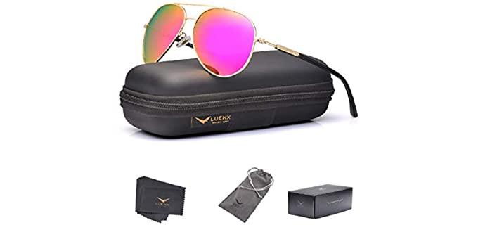 Luenx Women's UV - Polarized and Mirrored Small Aviator Sunglasses