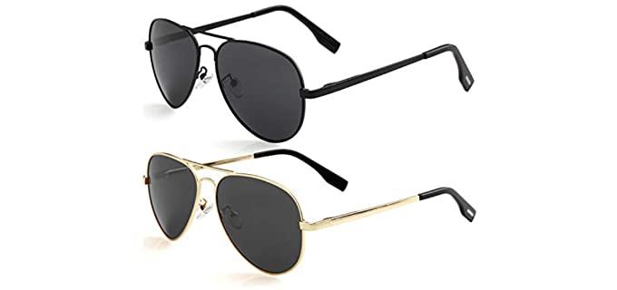 Kursan Men's Polarized - Small Aviator Sunglasses