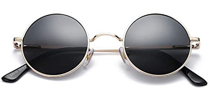 Pro Acme Men's Retro - Small Round Metal Sunglasses