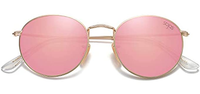 Sojos Women's Polarized - Vintage Small Round Metal Sunglasses