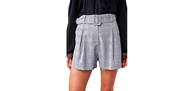 Sugar Lips Women's Pleated - Plaid Shorts for a Flat Bum