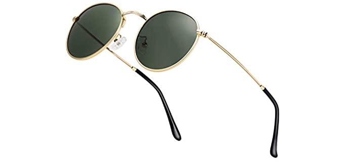 HTMS Men's Retro - Mirrored Small Round Metal Sunglasses