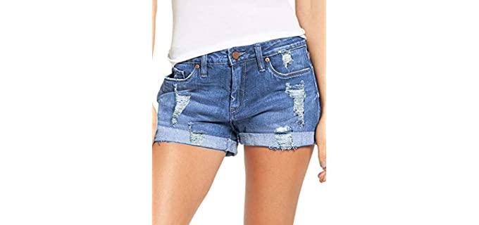 Luvamia Women's Ripped - Denim Shorts for a Flat Bum