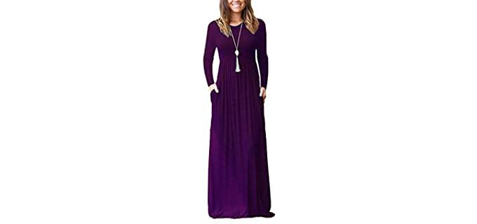 Auselily Women's Long Sleeve - Broad Shoulders Dress