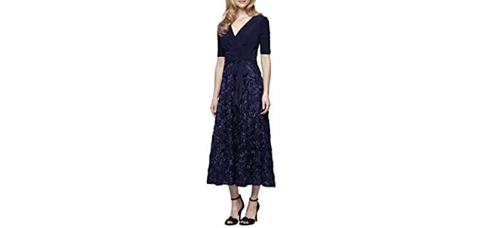 Alex Evenings Women's Tea Dress - Honeymoon Evening Dress