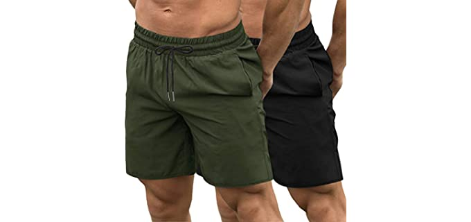 Coofandy Men's Two Pack - Gym Shorts for Long Legs