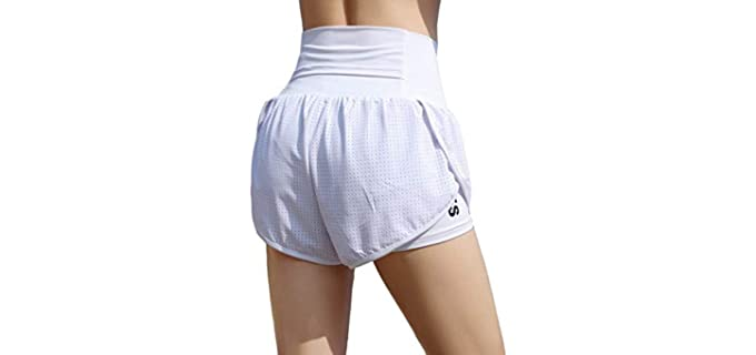 Edencomers Women's Workout - Shorts with Built In Underwear