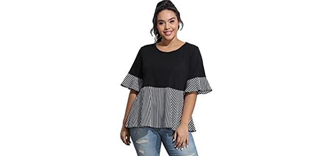 Floerns Women's Ruffle - Peplum Shirt for an Apple Shape