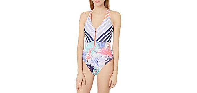 Hobie Women's Zip Front - Large Bust One-Piece Swimsuit