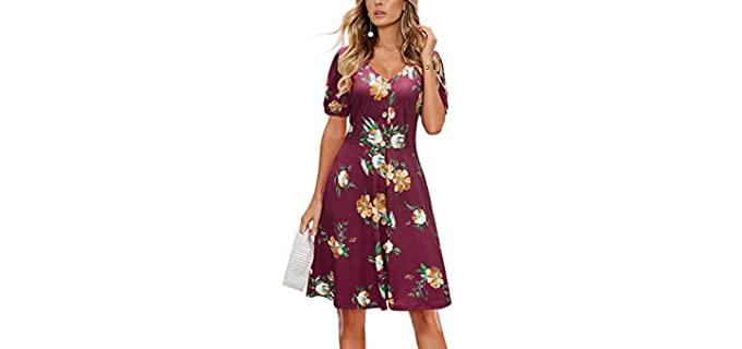Laishen Women's V-neck - Dress for Church
