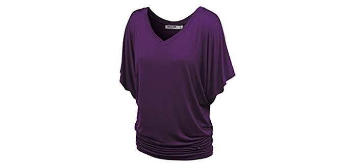 Lock and Love Women's Solid - Apple Shape V-Neck Shirt