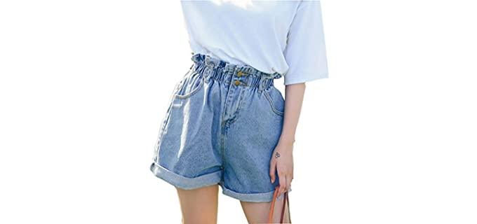 Plaid and Plain Women's High waist - Shorts for a Muffin Top