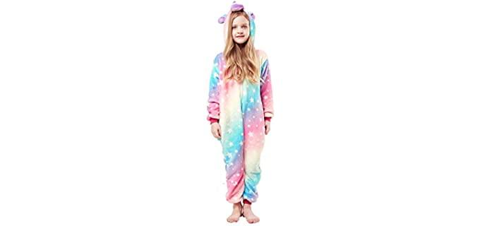 Hytom Girl's Soft - Hooded Onesie Pyjamas