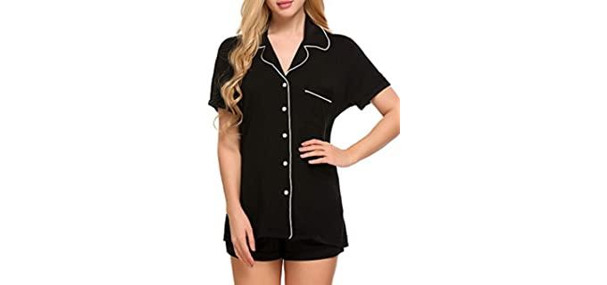 Ekouaer Women's Short Sleeve - Night Sweats Pajamas