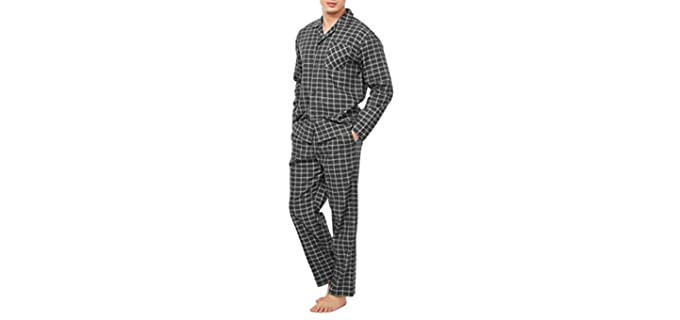 David Archy Men's Cotton - Set of Flannel Pajamas