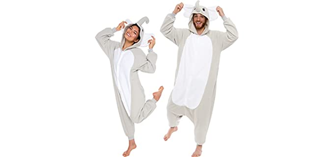 Silver Lily Unisex Elephant - Onesie Pajamas for Couples Party